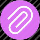 attach, attachment, clamp, clip, paper clip icon