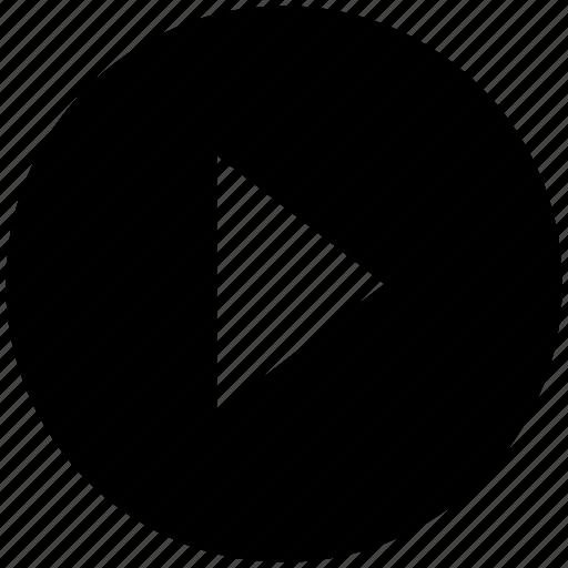 arrow, circle, media, right, triangle icon