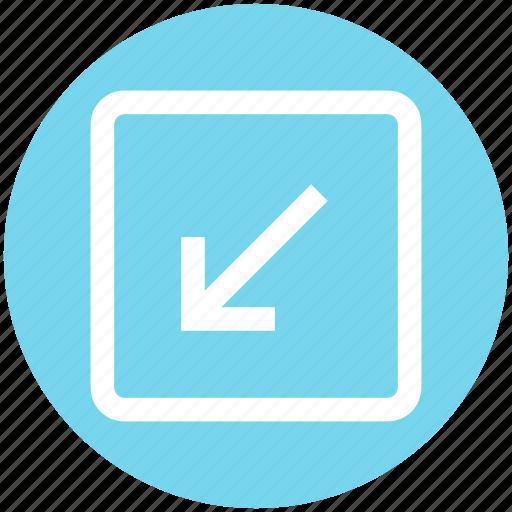 arrow, box, down, down arrow, forward, material, square icon