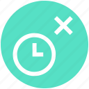 alarm, clock, cross, optimization, reject, time, watch icon