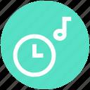 alarm, clock, multimedia, music note, optimization, time, watch icon