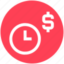 alarm, clock, dollar, money, optimization, time, watch icon