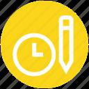 alarm, clock, optimization, pencil, schedule, time, watch icon