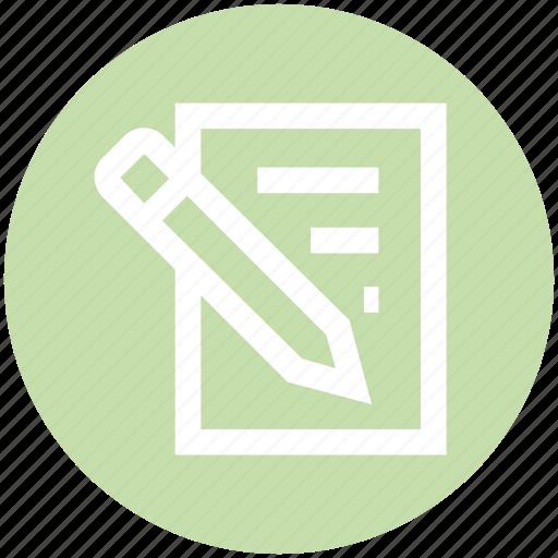 edit, paper, pen, pencil, sheet, write icon