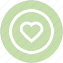 affection, circle, favorite, heart, love, sign icon