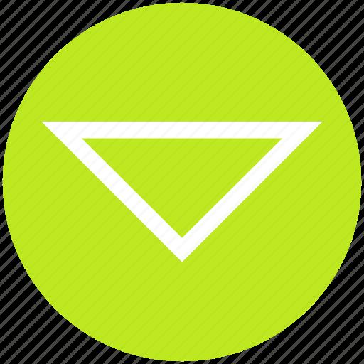 arrow, command, down, media, triangle icon