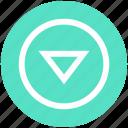 arrow, circle, down, media, triangle icon