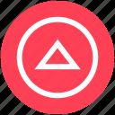 arrow, circle, media, triangle, up icon