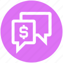 bubble, chatting, dollar, messages, money, sms, texts icon