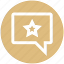 bubble, chat, favorite, message, sms, star, texts icon