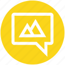 bubble, chat, hills, message, mountain, sms, texts icon