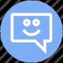 chat, comment, conversation, happy, message, smile, sms
