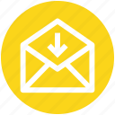 down arrow, email, envelope, letter, mail, message, received icon