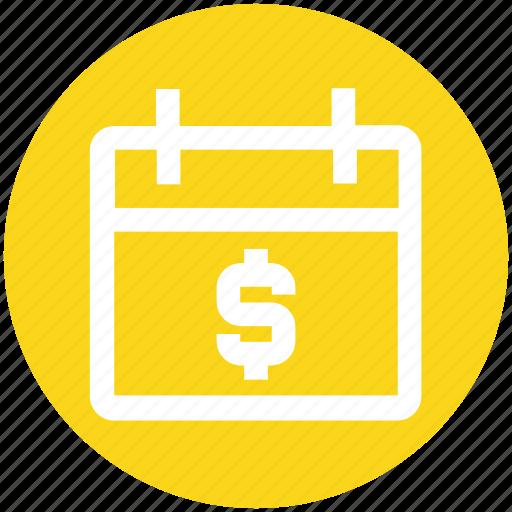 agenda, appointment, calendar, date, dollar, money, schedule icon
