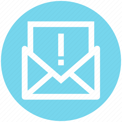 email, envelope, exclamation, letter, mail, mark, message icon