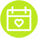 agenda, appointment, calendar, date, heart, material, schedule icon