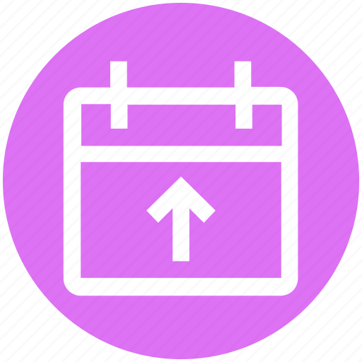 agenda, appointment, calendar, date, material, schedule, up arrow icon