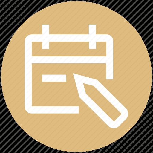 agenda, appointment, calendar, date, edit, pencil, schedule icon