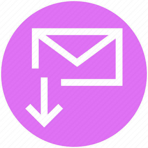 down arrow, email, envelope, letter, mail, message, receive icon
