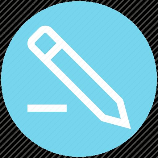 drawing, editor, marker, minus, pen, pencil, write icon