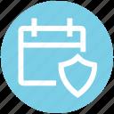agenda, antivirus, appointment, calendar, date, schedule, shield icon