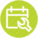 agenda, appointment, calendar, date, repair, schedule, wrench icon