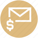dollar, email, envelope, letter, mail, message, money icon