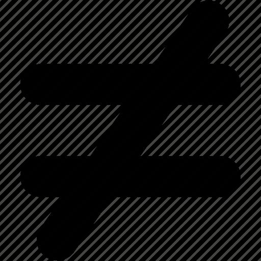 inequality, math, mathematical symbol, not equal, not equal sign, not equal symbol, not equal to icon