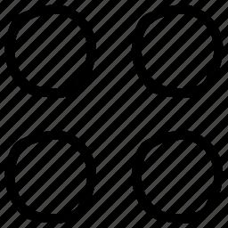 circles, four circles, geometric design, geometry, grid, shape icon
