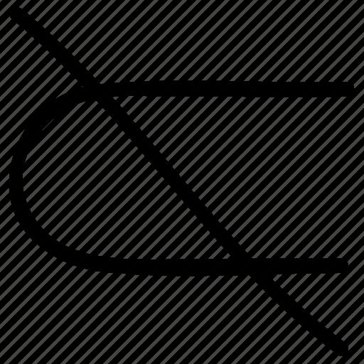 math, mathematical symbol, mathematics, not subset, not subset symbol icon