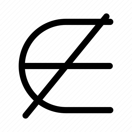 Epsilon Not No Element No Set Not An Element Of Set Theory Icon