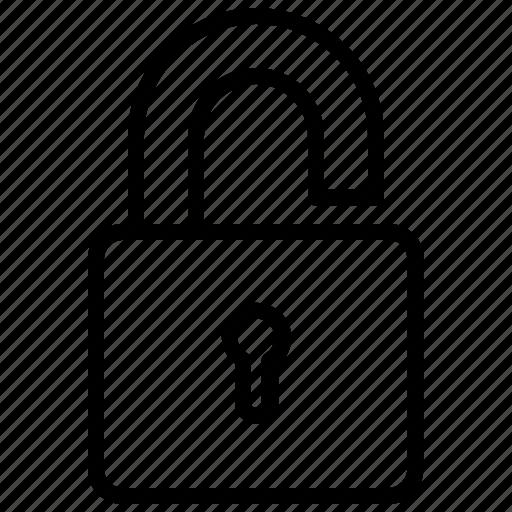 access, padlock, password, unlocked icon