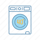 40 degree, gentle, laundry, machine, mode, wash, washing icon