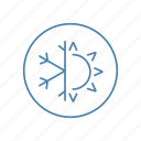conditioning, dual, season, snowflake, summer, sun, winter icon
