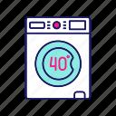 40 degree, gentle, laundry, machine, mode, wash, washing icon