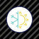summer, winter, snowflake, sun, season, dual, conditioning