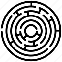 labyrinth, maze game, puzzle, round maze, solution icon