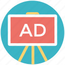 ad board, advertisement board, advertising media, advertising stand, stand board icon