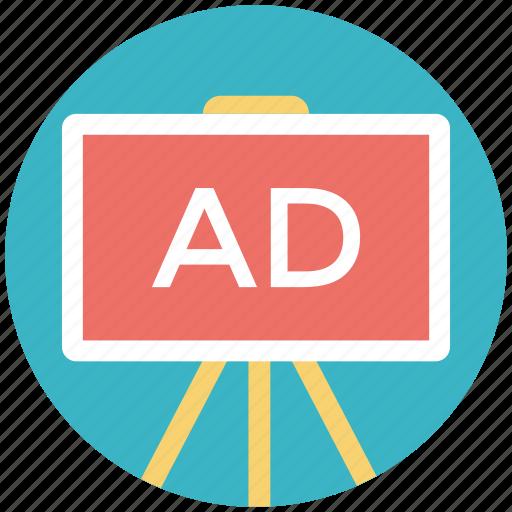 ad board, advertisement board, advertising media, advertising stand, stand board icon