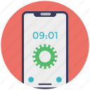 mobile application, mobile clock interface, mobile time setting, mobile ui, screen timeout icon