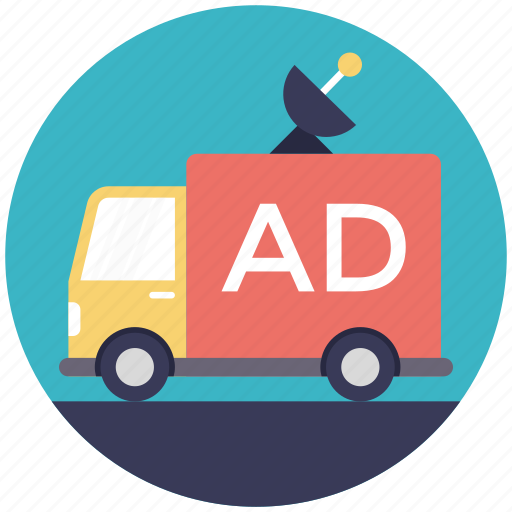 broadcast vehicle, broadcasting truck, media advertising, mobile vehicle, news van icon