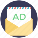 e marketing, email advertising, email marketing, internet advertising, spam message icon