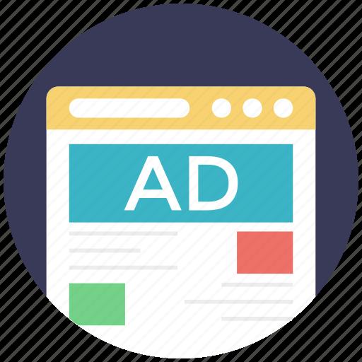 digital advertising, online marketing, web ads, web advertisement, web banners icon