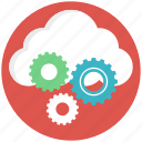 cloud computing, cloud gear, cloud management, cloud setting, data storage icon