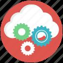 cloud computing, cloud gear, cloud management, cloud setting, data storage icon
