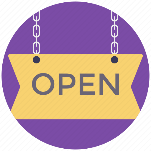 open sign, shop sign, signage, signboard, signpost icon