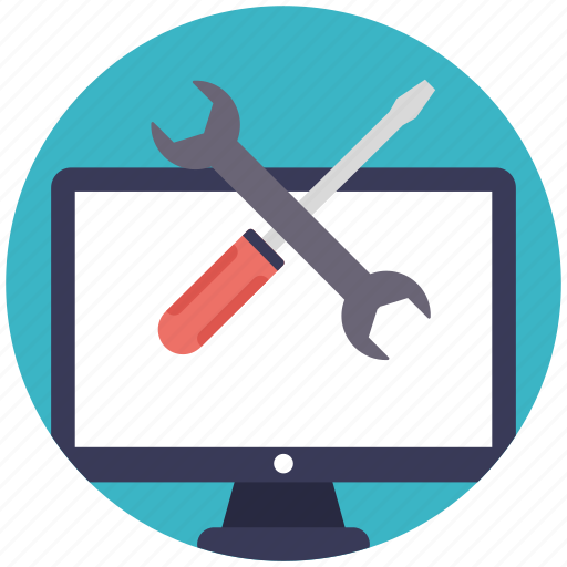 computer repairing, computer service, pc repair, repair service, technical support icon