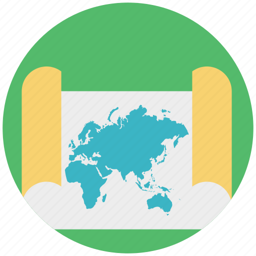 cartography, geography, paper map, turned map, world map icon