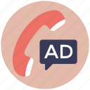 telecommerce, telemarketing, telephone advertising, telephone campaign, telesale, teleselling icon