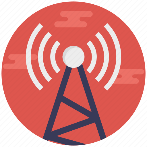 radio repeater, satellite tower, signal tower, telecom tower, telecommunication tower icon
